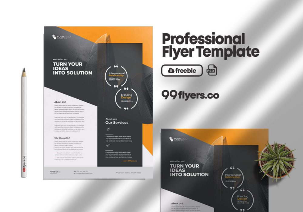 Corporate Ad Services Free PSD Flyer Template