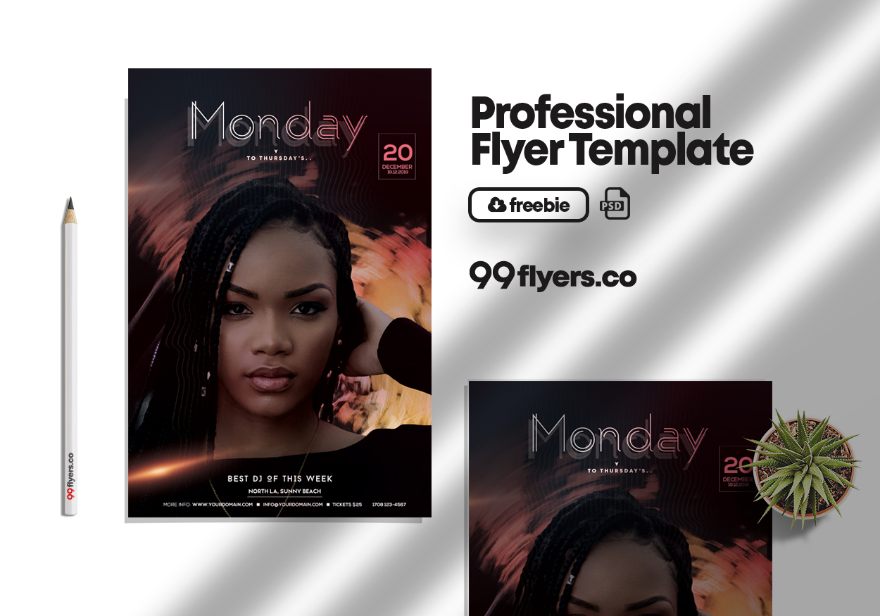 Monday to Friday Party Flyer Free PSD Template
