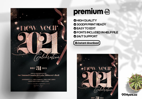 NYE Eve 2021 Rose Gold Flyer Template (PSD)