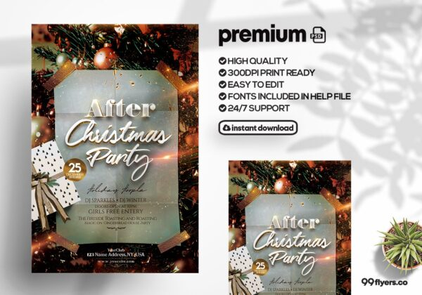 A Perfect Christmas Party PSD Flyer Template