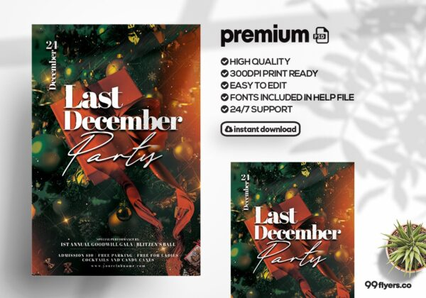 All About Christmas Event Party PSD Flyer Template