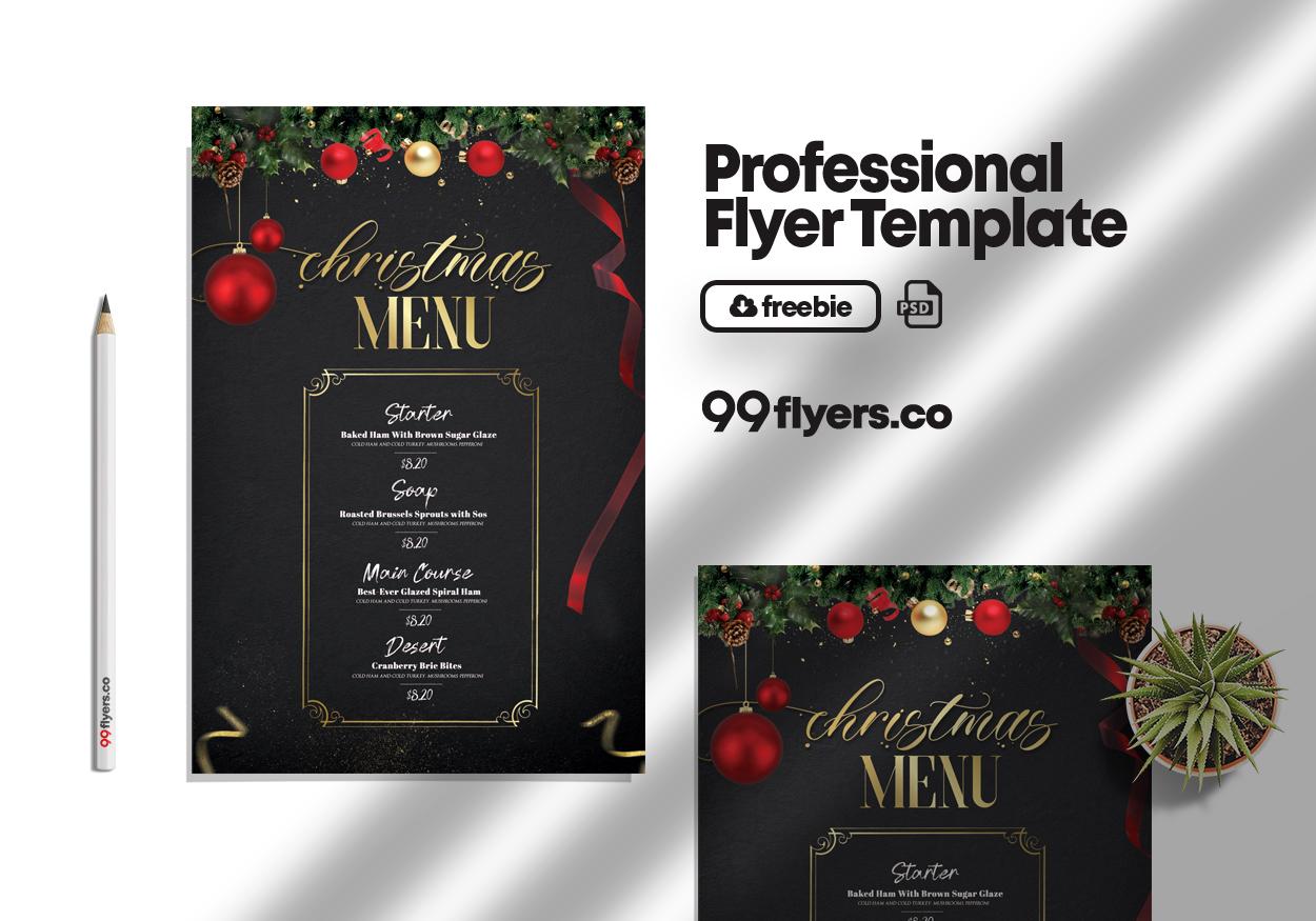 Christmas Dinner Dish Menu Free PSD Flyer Template