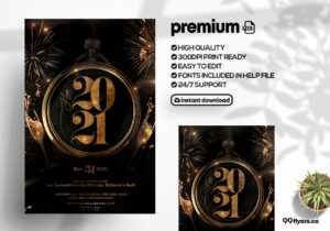 Elegant New Year Event Flyer PSD Template