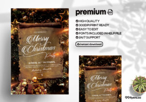 Elegant X-Mas Party PSD Flyer Template