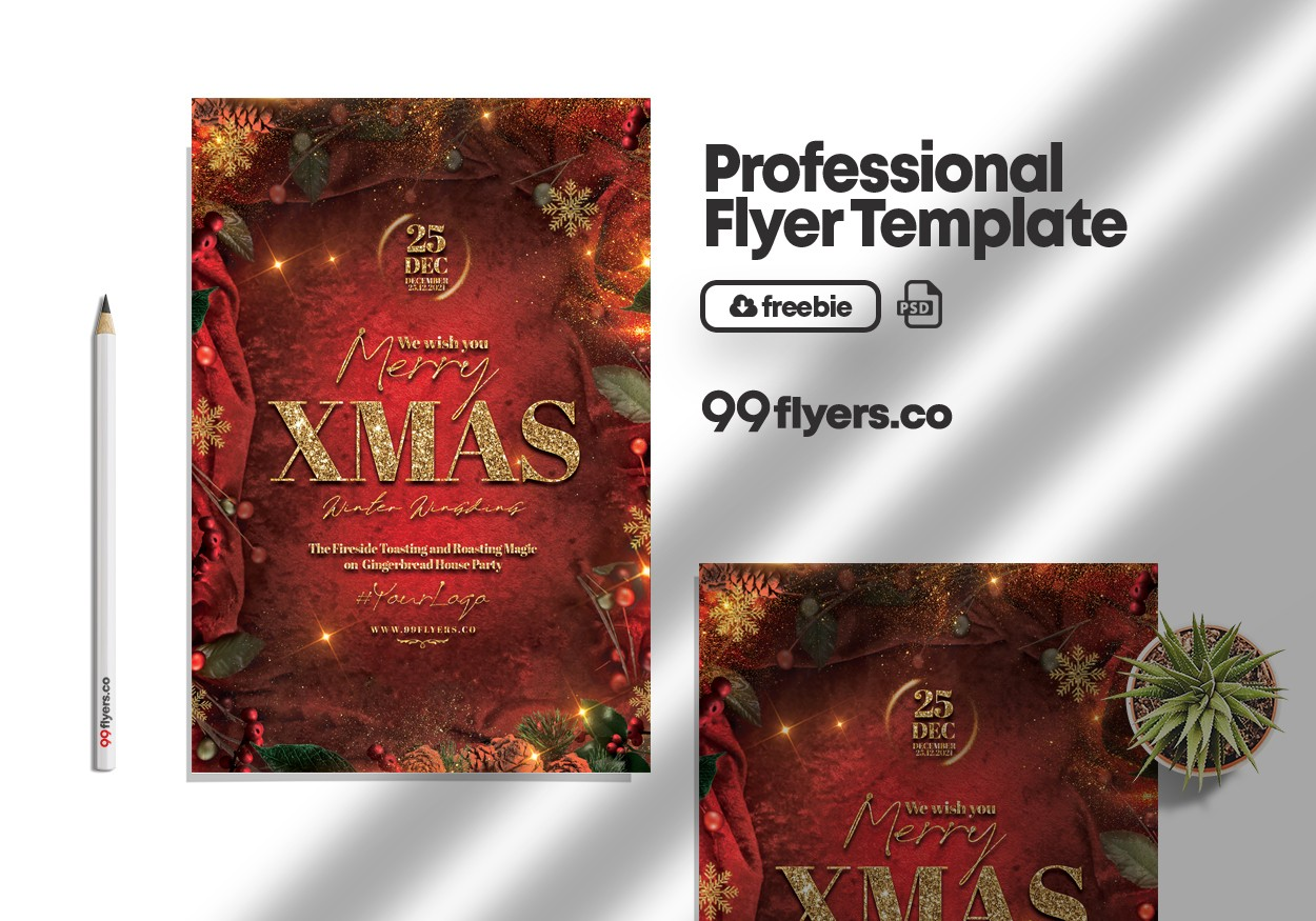 Happy Christmas Event Flyer Free PSD Template