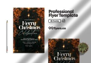 Holly Jolly Christmas Party Flyer Free PSD Template