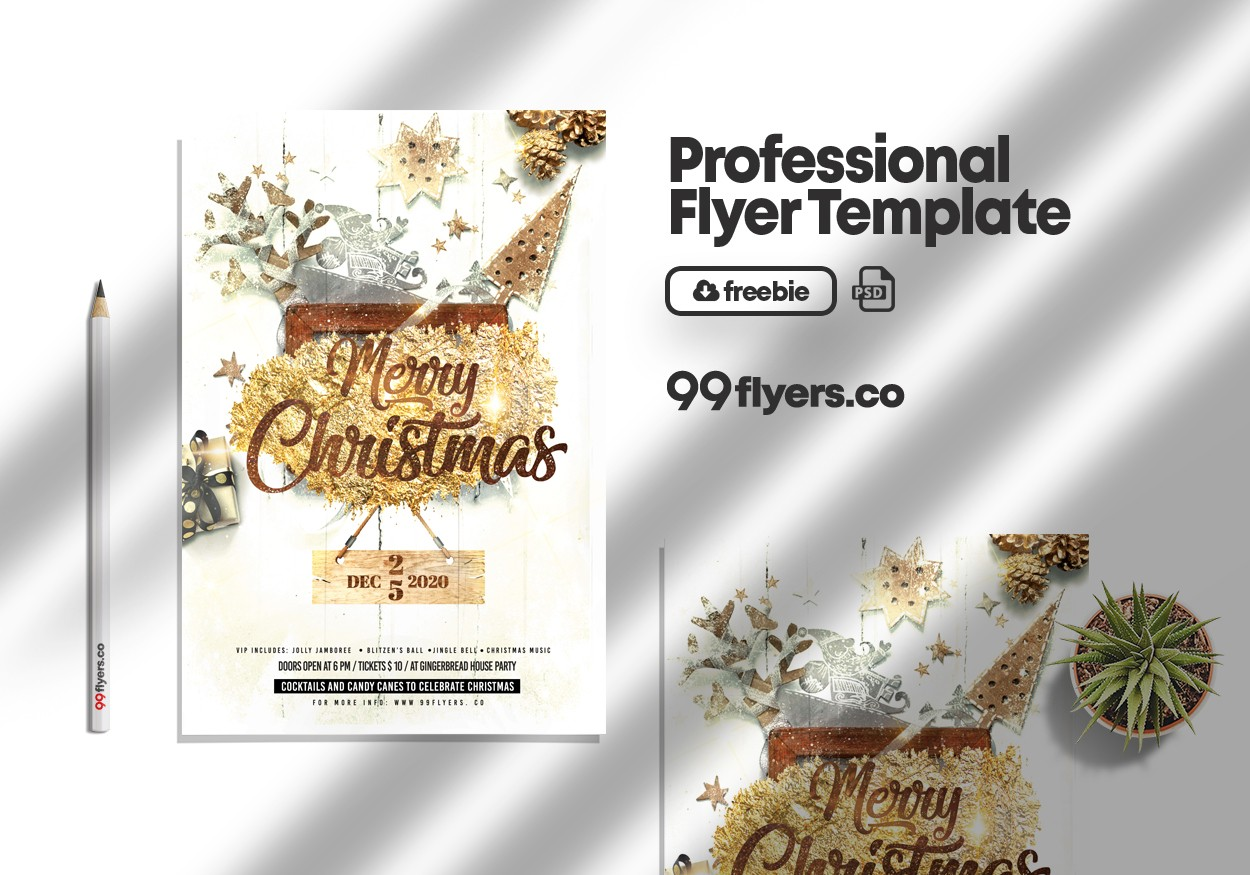 Magic Christmas Event Flyer Free PSD Template