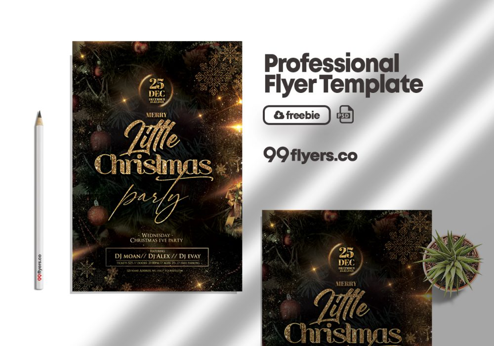 Merry Little Christmas Event Flyer Free PSD Template
