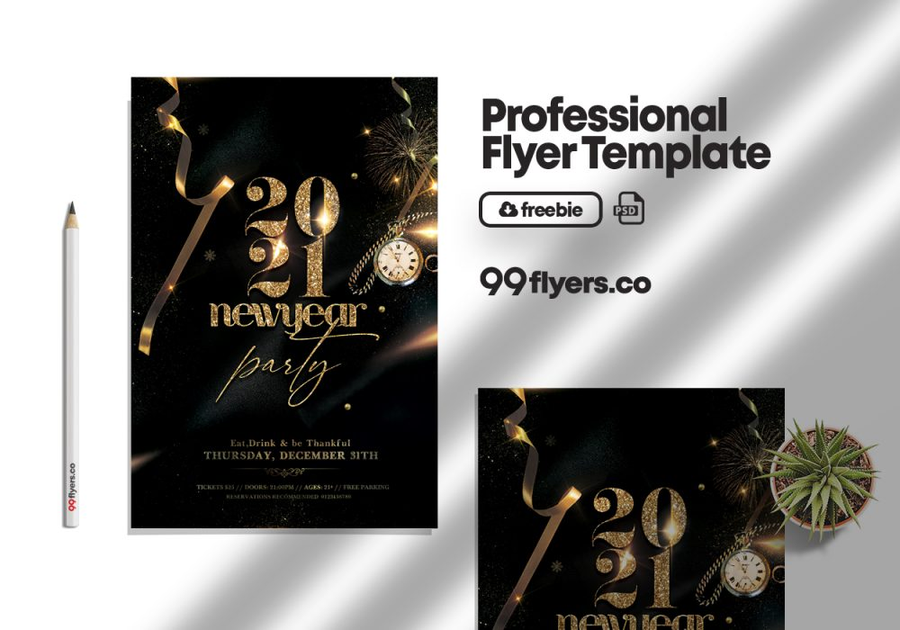 New Years Eve Event Flyer Free PSD Template