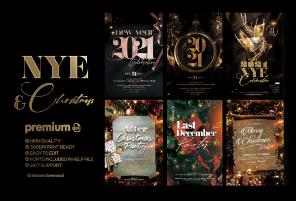 New Year & Christmas Bundle Flyers