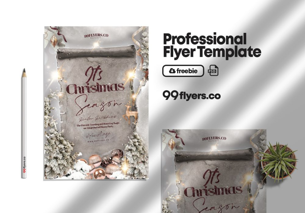 White Christmas Season Flyer Free PSD Template