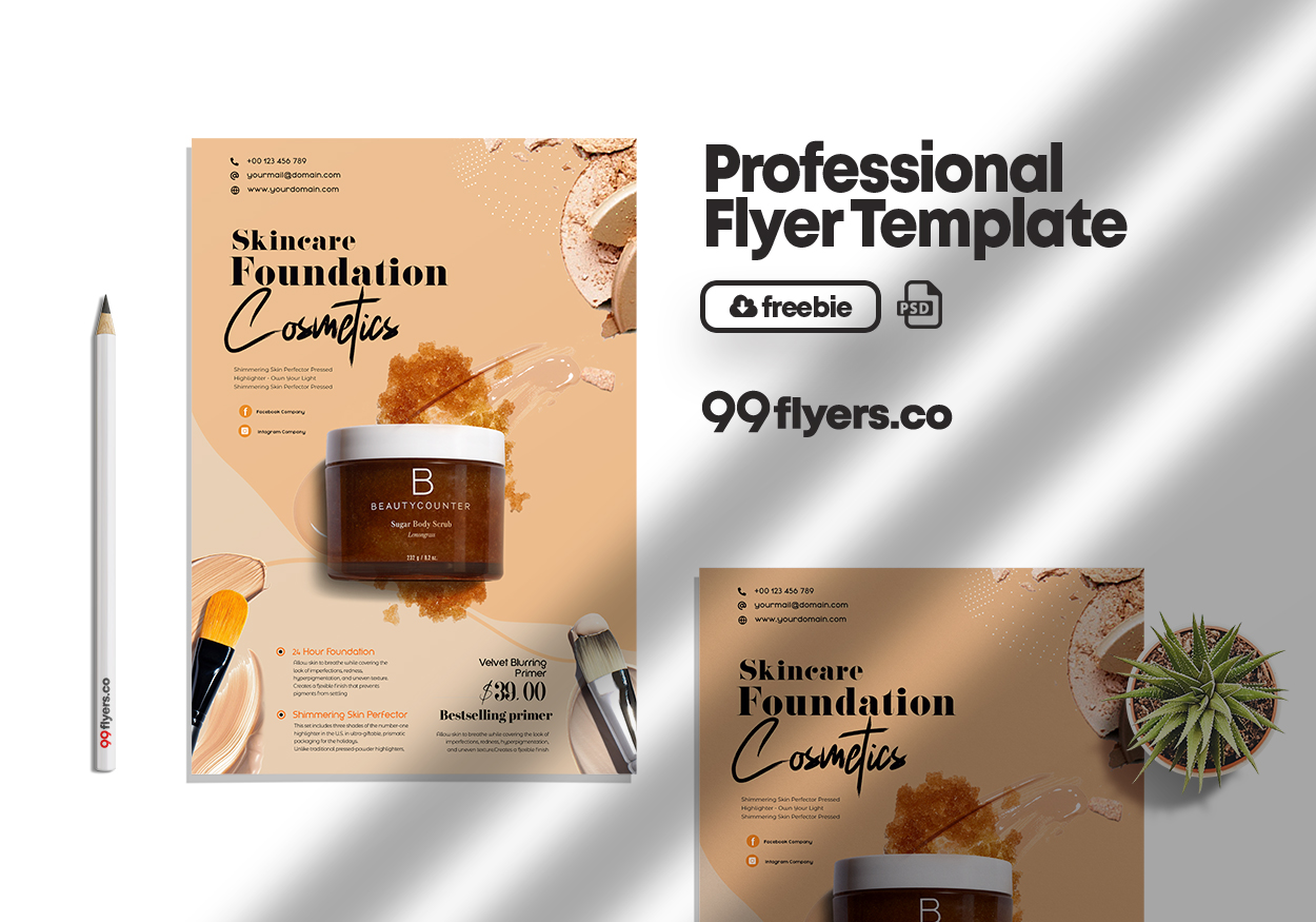 Beauty Care Products Free PSD Flyer Template