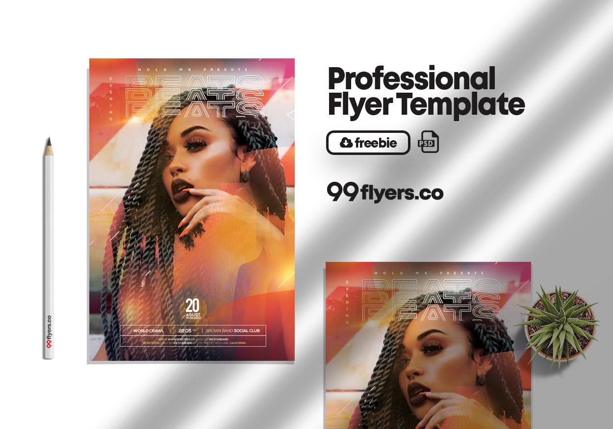 Evening Beats Event Flyer Free PSD Template
