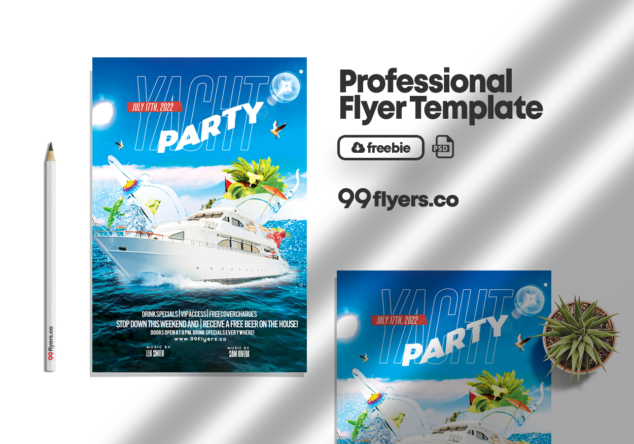 Yacht Party Flyer Free PSD Template