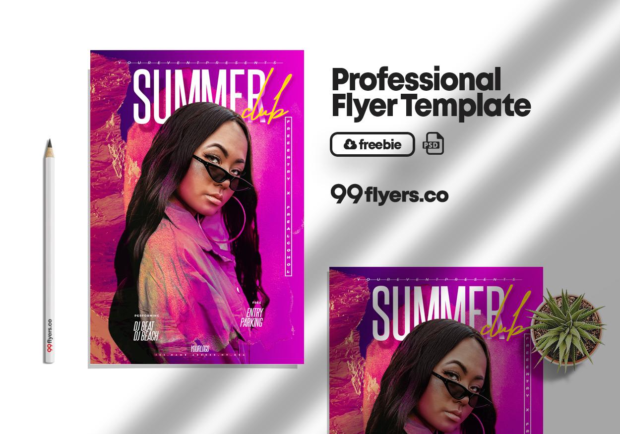 Club & Summer Night Free PSD Flyer Template