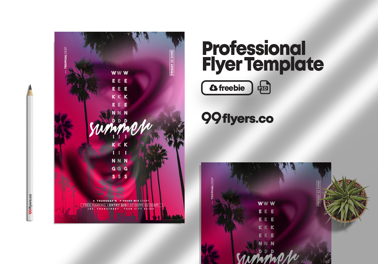 Summer Time Party Flyer Free PSD Template
