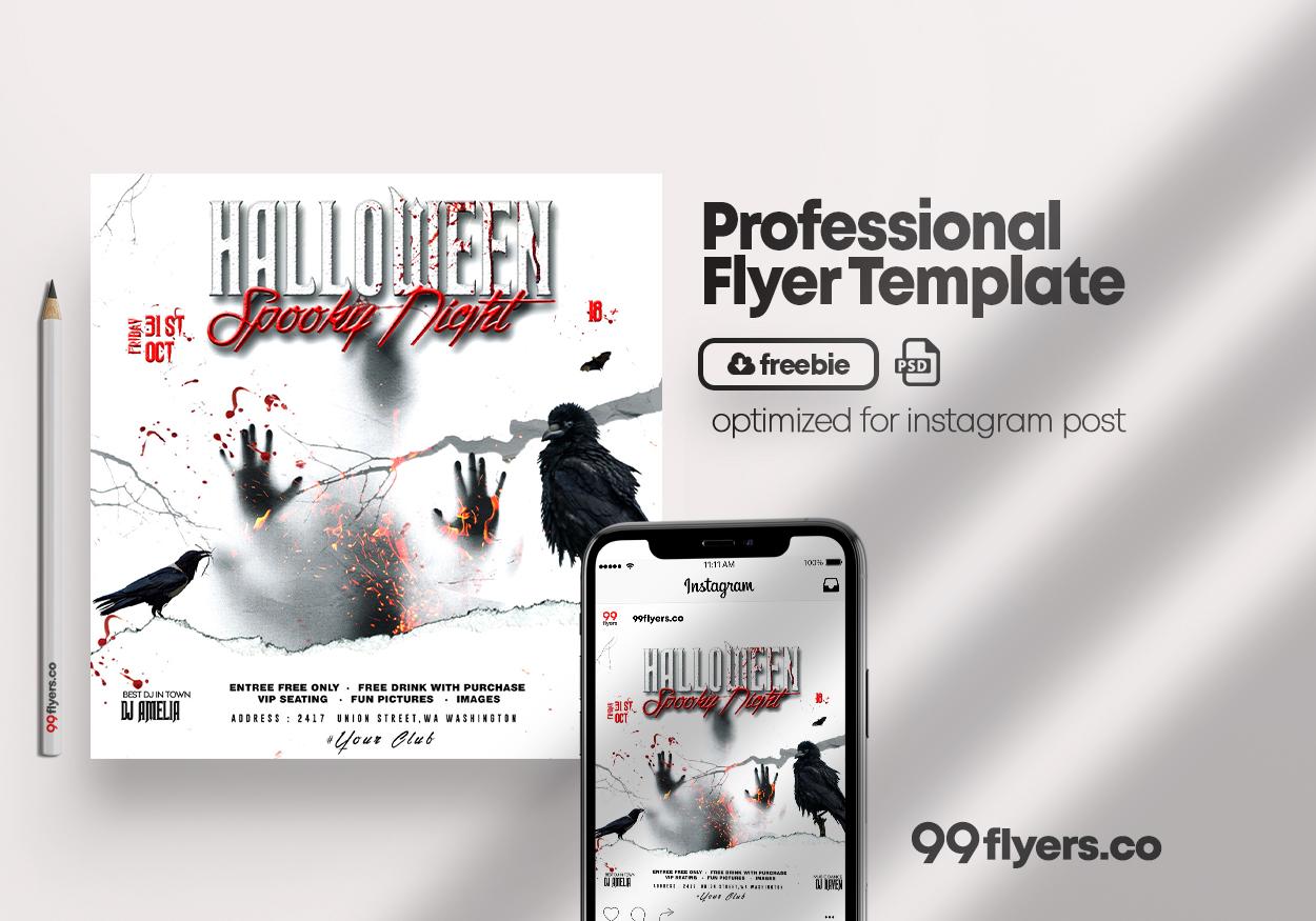 Fright Halloween Night Free PSD Flyer Template